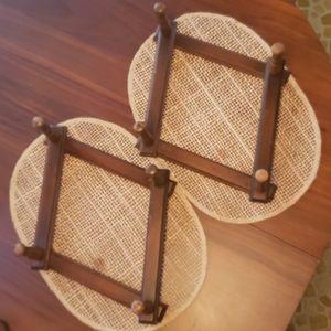 Set of 2 Vintage Wooden Accordian Peg Racks